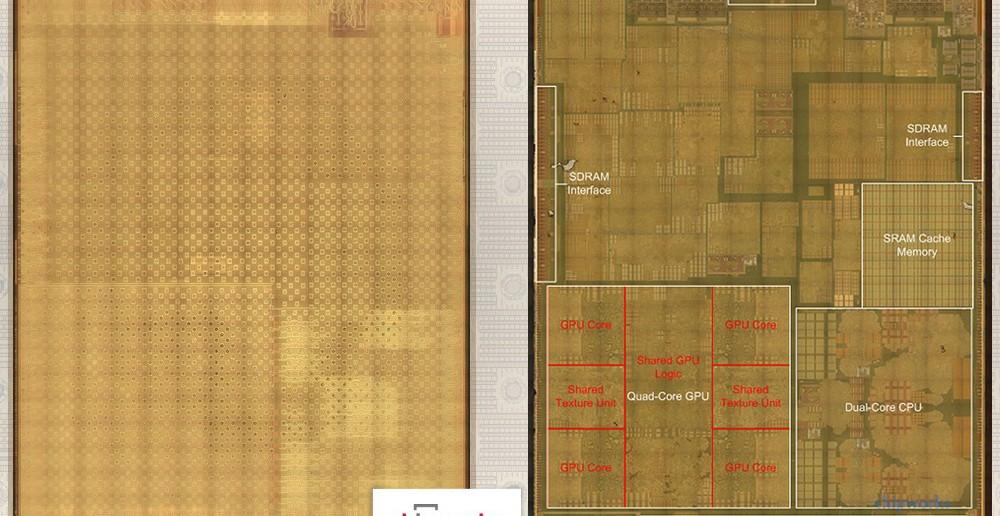 Rez čipom Apple A8. Horná vrstva operačnej pamäte vľavo, spodná vrstva s CPU a GPU vpravo (Autor: Chipworks)