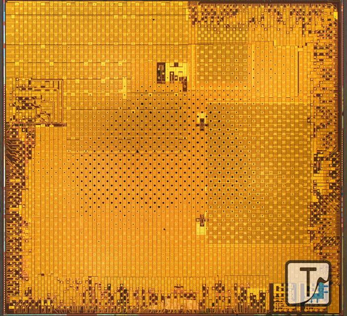 Rez pamäťovou vrstvou čipu Exynos 5 Octa vo verzii 5422 (Autor: Techinsigths)