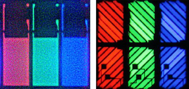Subpixely a ich tranzistory. Panel typu TN vľavo, pokročilejší MVA/PVA vpravo (Autori: Deglr6328, Wayne Schmidt)