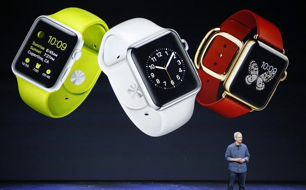 File photo of Apple CEO Tim Cook speaking about the Apple Watch during an Apple event at the Flint Center in Cupertino