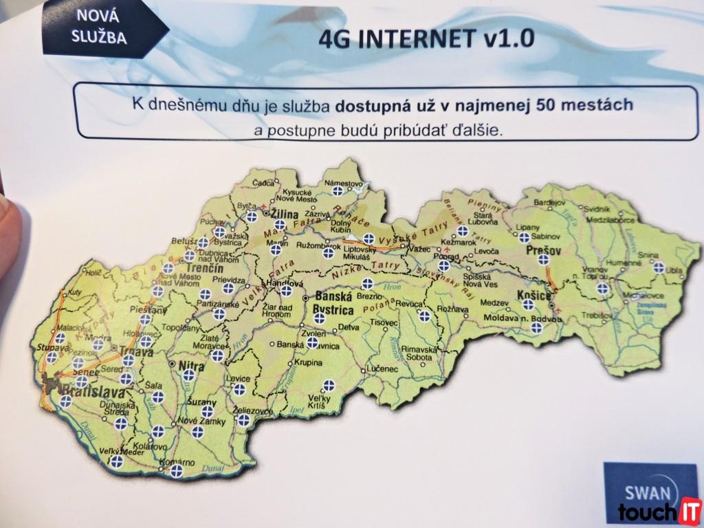 4G INTERNET od SWANu je momentálne dostupný v nasledujúcich mestách
