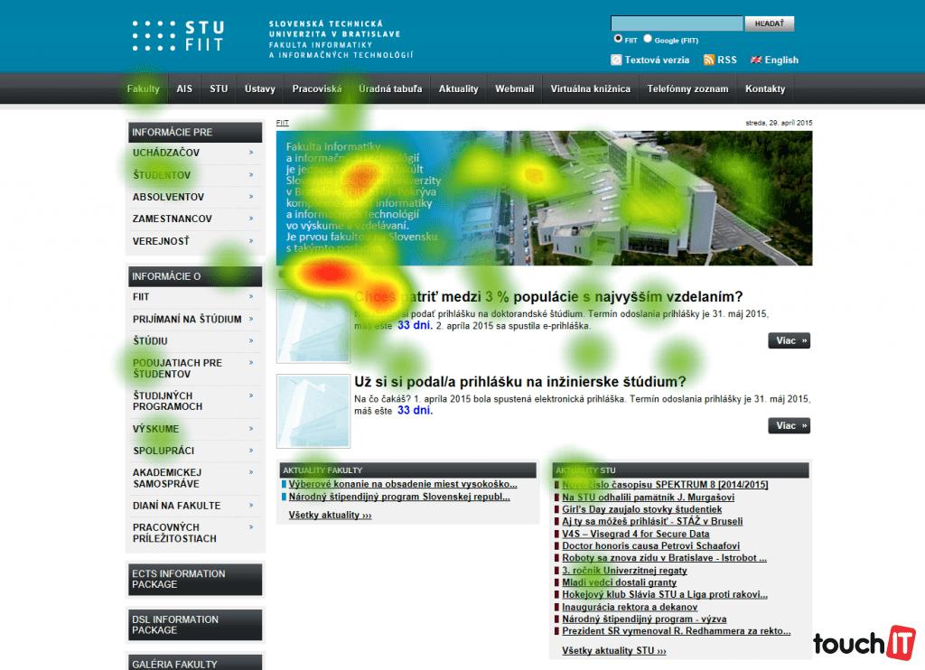 Vizualizácia pohľadu návštevníka webovej stránky FIIT STU. Zobrazená je teplotná mapa (angl. heatmap), intenzita farebného vyjadrenia zobrazuje fixácie pohľadov návštevníkov stránky