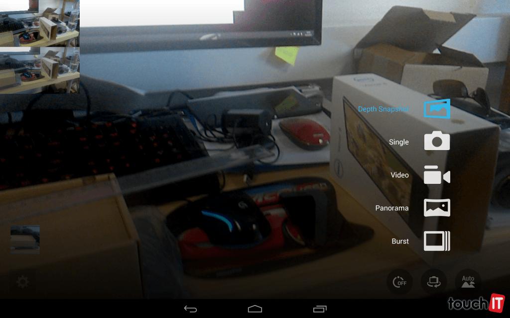 Režimy fotoaparátu. Intel RealSense sa využíva iba v prípade režimu Depth Snapshot