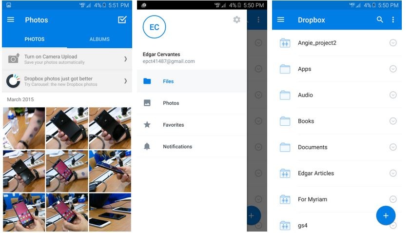 Dropbox vo verzii 3.0 s Material dizajnom (Autor: Android Authority)
