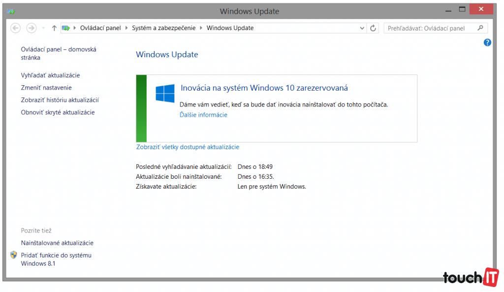 Úspešnú rezerváciu systému Windows 10 vám potvrdí aj služba Windows Update