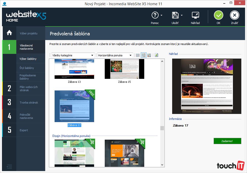 Verzia Home s možnosťou vytvorenia základných webových prezentácií. Bude mnohým začiatočníkom postačovať
