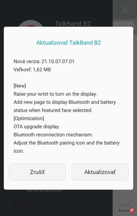 Tretia aktualizácia pre Huawei TalkBand B2
