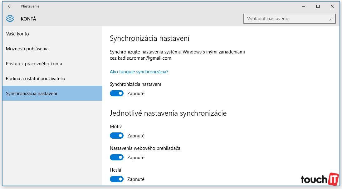 Windows automaticky synchronizuje vaše dáta s vašim Microsoft účtom. Ak vám to nevyhovuje, funkciu môžete vypnúť