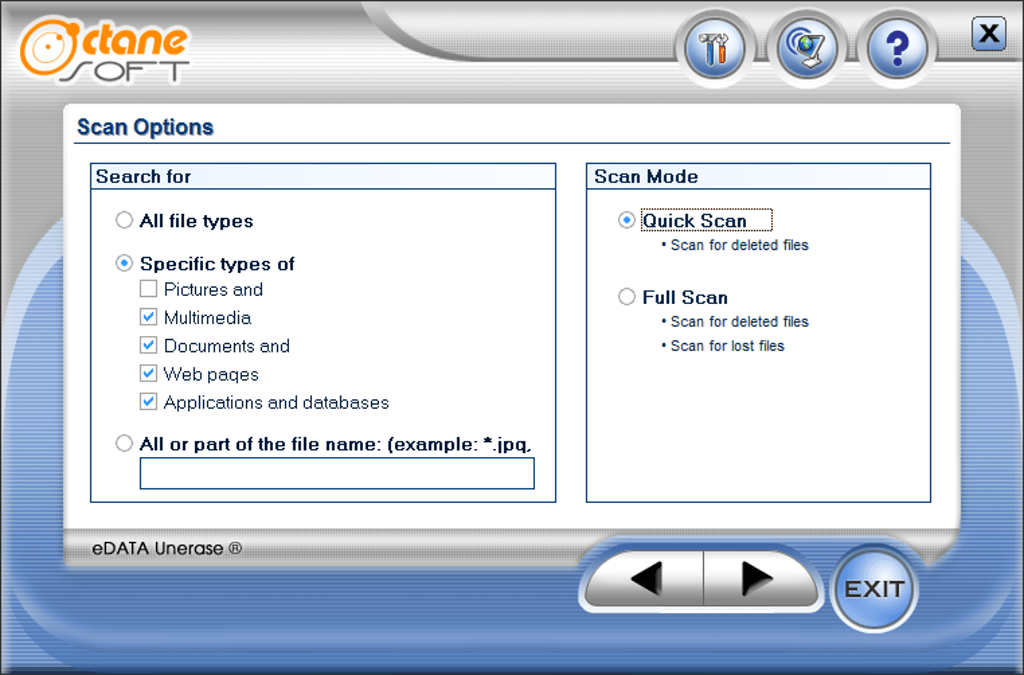 Výber možností na vyhľadanie vlastných typov súborov