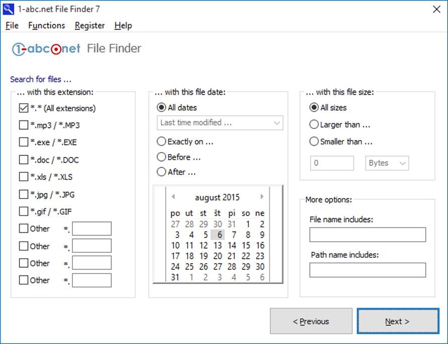 Zadanie kritérií na vyhľadávanie súborov