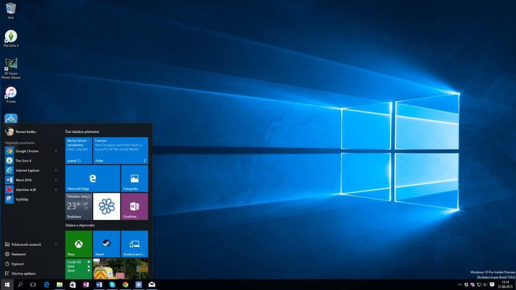 Windows 10 prináša klasickú ponuku Štart, ktorú zmodernizoval. Používateľské rozhranie systému pôsobí ucelenejším dojmom vporovnaní sWindows 8