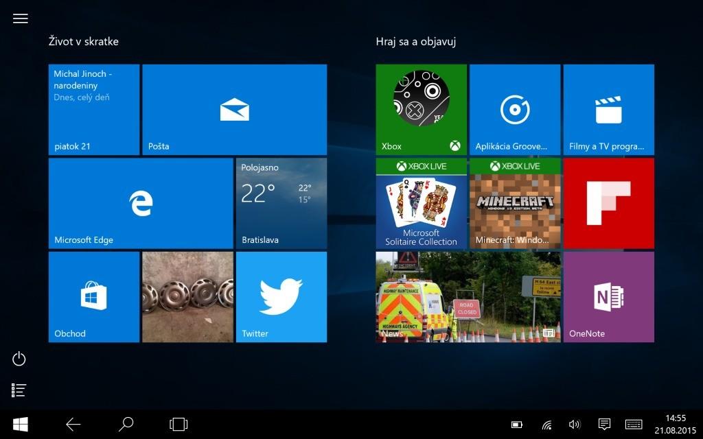 Novinkou je režim tabletu. Na niektoré zmeny si musíte zvyknúť, ale nám vyhovuje viac ako vo Windows 8