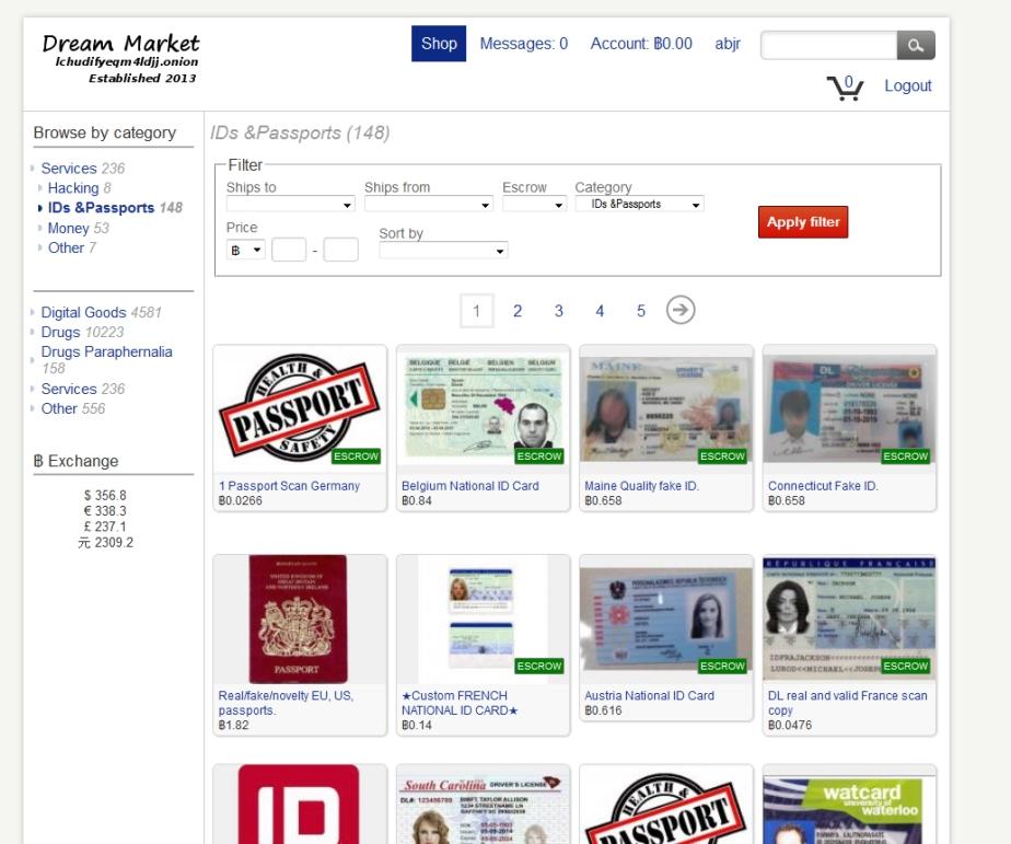 Dream Market a jeho ponuka ukradnutých a falošných občianskych preukazov a identifikačných kariet