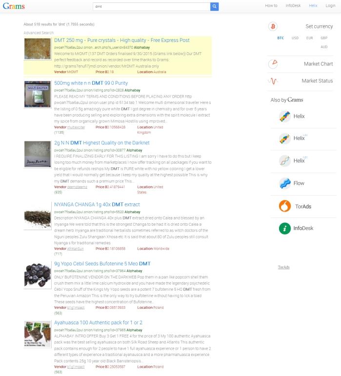 """Vyhľadávač Grams sa snaží na darkwebe dostať do pozície Googlu. Okrem vyhľadávania na čiernych trhoch ponúka aj reklamu a služby s """"praním"""" bitcoinov"""