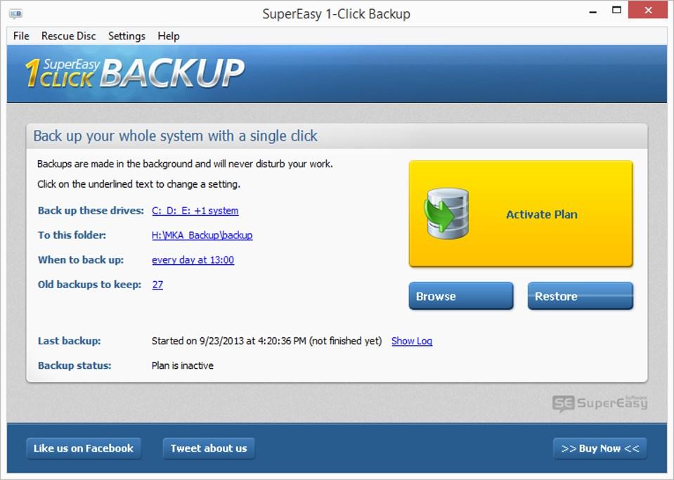 SuperEasy 1-Click Backup umožňuje zálohovať kompletný obsah pevného disku