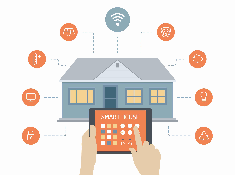 Inteligentný dom, ktorý je možné kontrolovať pomocou smartfónu doma aj na diaľku je ďalší spôsob využitia IoT. Dnes je to drahá záležitosť