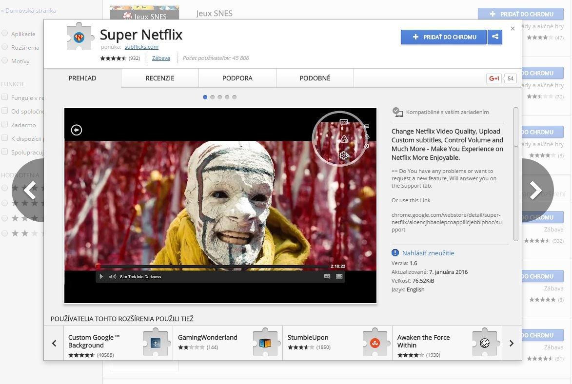 Slovenské titulky si importujete pomocou rozšírenia pro Chrome. Pohodlie to ruší