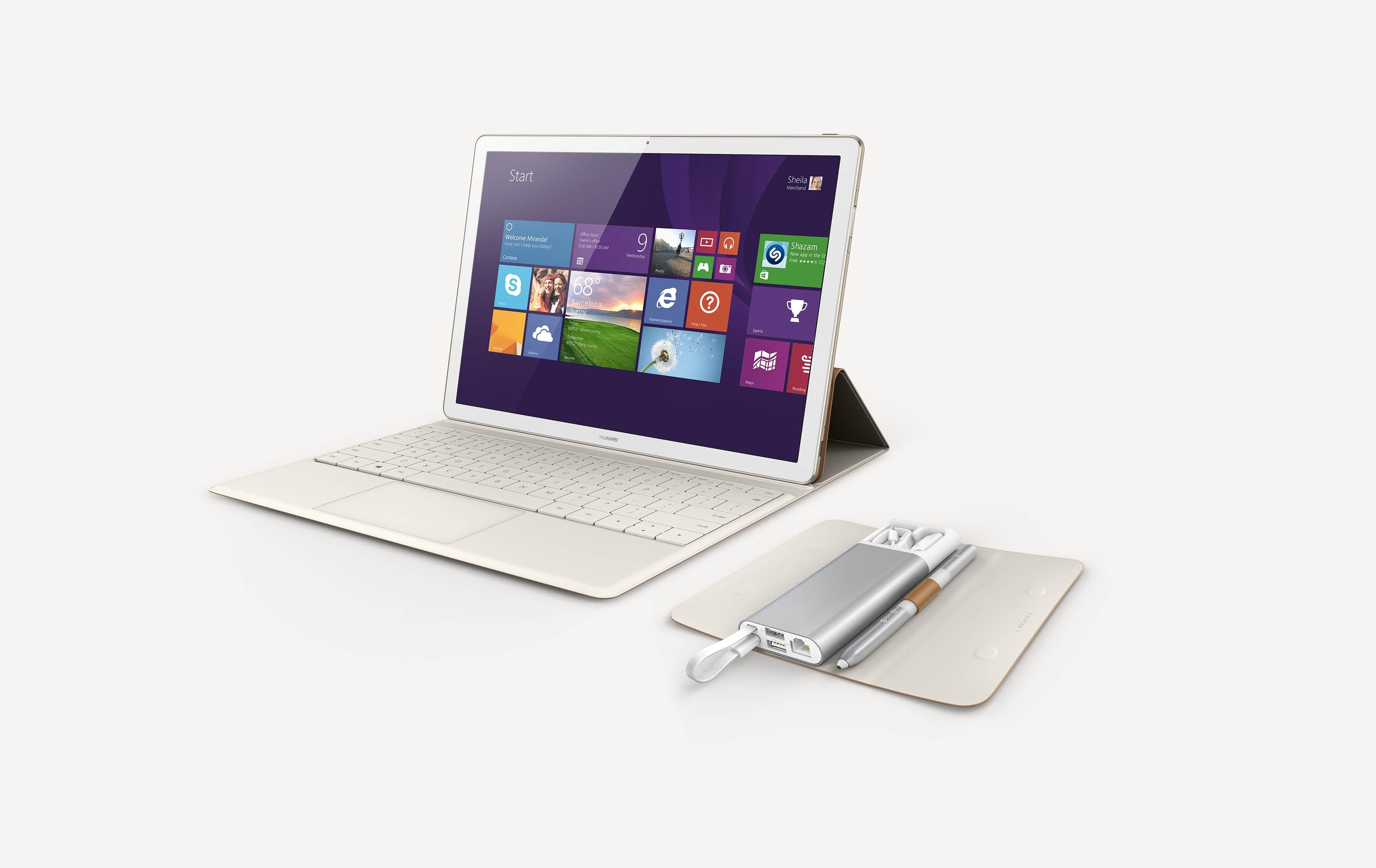 Krásny Windows tablet Huawei MateBook zaujme kvalitou vyhotovenia, nízkou hmotnosťou a doplnkovým adaptérom. Foto Huawei