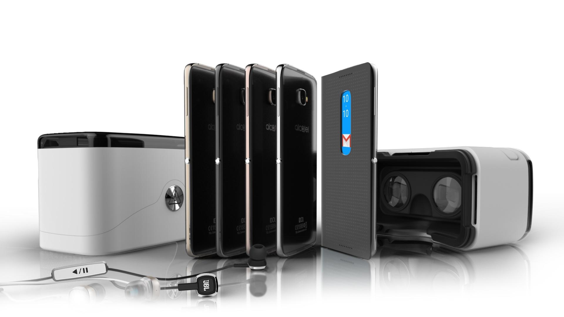 Takto vyzerá príslušenstvo pre IDOL 4S – okuliare pre virtuálnu realitu a slúchadlá JBL. Foto: Alcatel