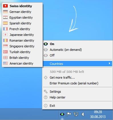 Ukážka programu – celé ovládanie je sústredené na kontextové menu