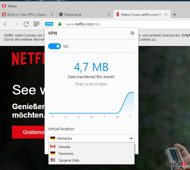 Po zapnutí funkcie VPN sa vám zobrazí nová ikona