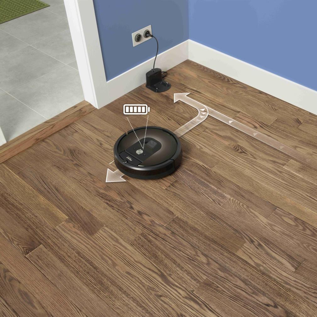 Ak sa batéria počas vysávania vybije, Roomba si sama nájde cestu k dokovacej stanici a začne sa nabíjať