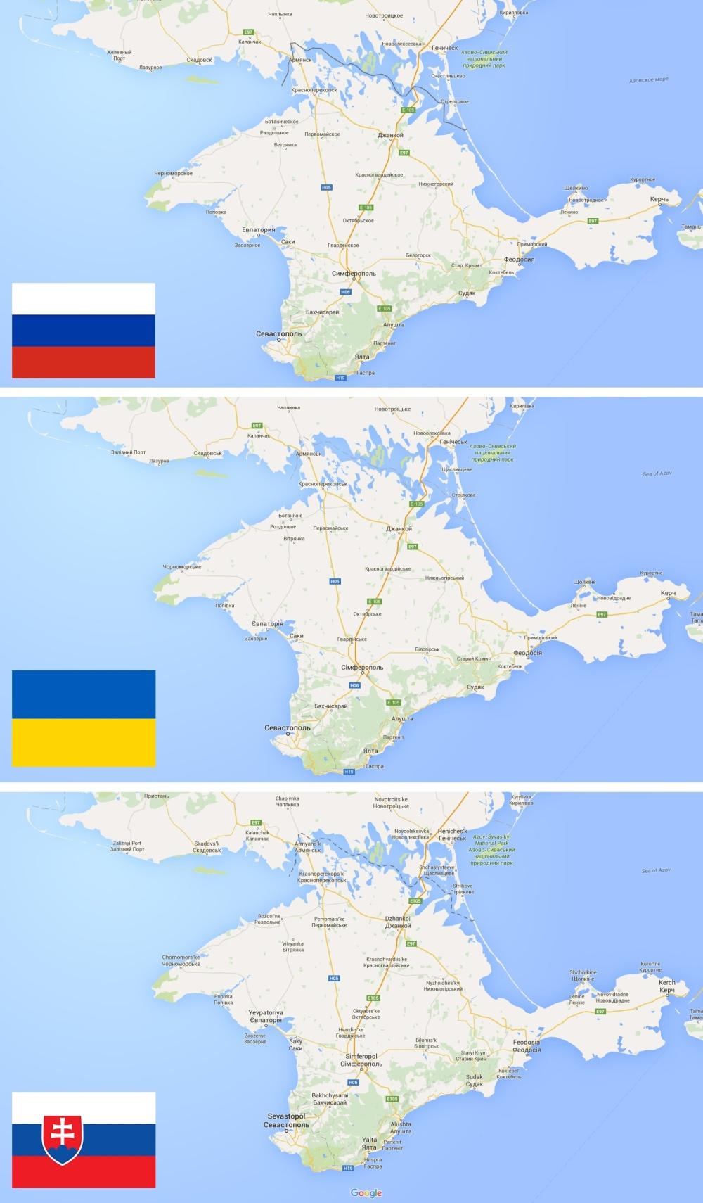 Rozdiely na mapách Googlu. Kým Rusi vidia, že Krym patrí im, Ukrajinci vidia jeho príslušnosť k sebe. Slovákom sa zobrazuje územie ako oblasť s nevyriešeným hraničným sporom