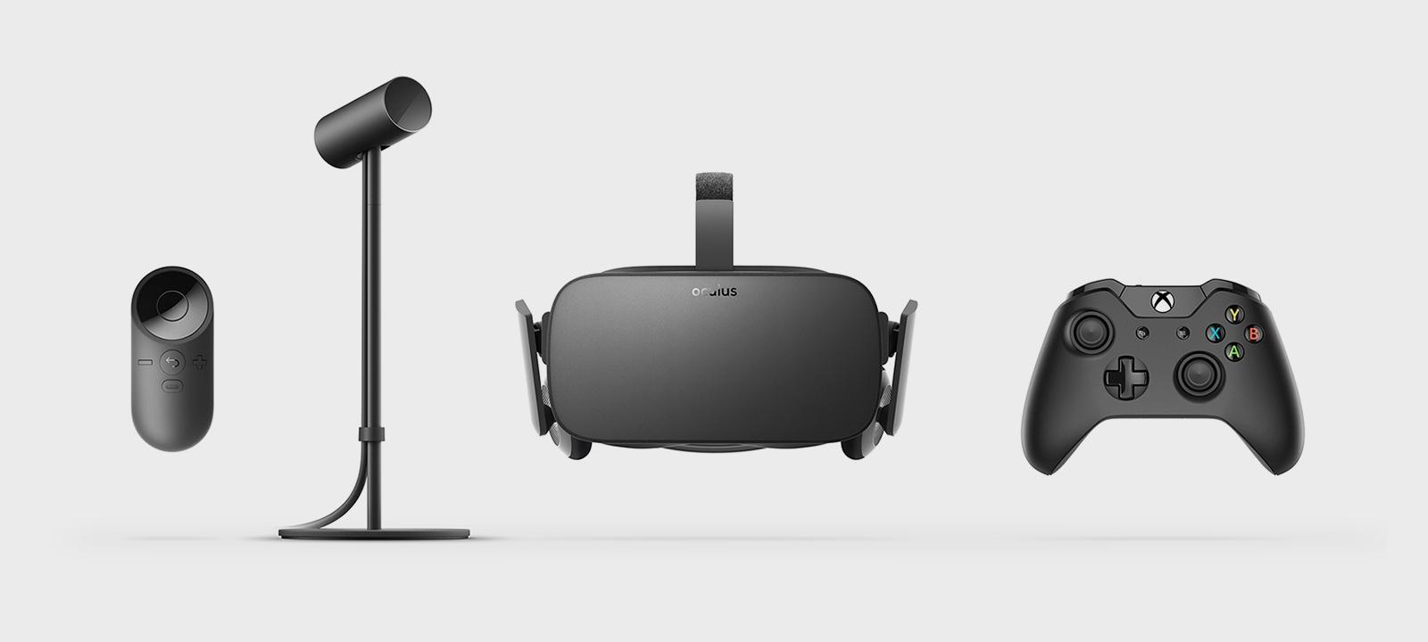 Obsah balenia virtuálnej reality Oculus Rift. Firma spolupracuje s Microsoftom, takže v každom balení nájdete herný ovládač pre Xbox One, ktorý funguje aj na počítačoch