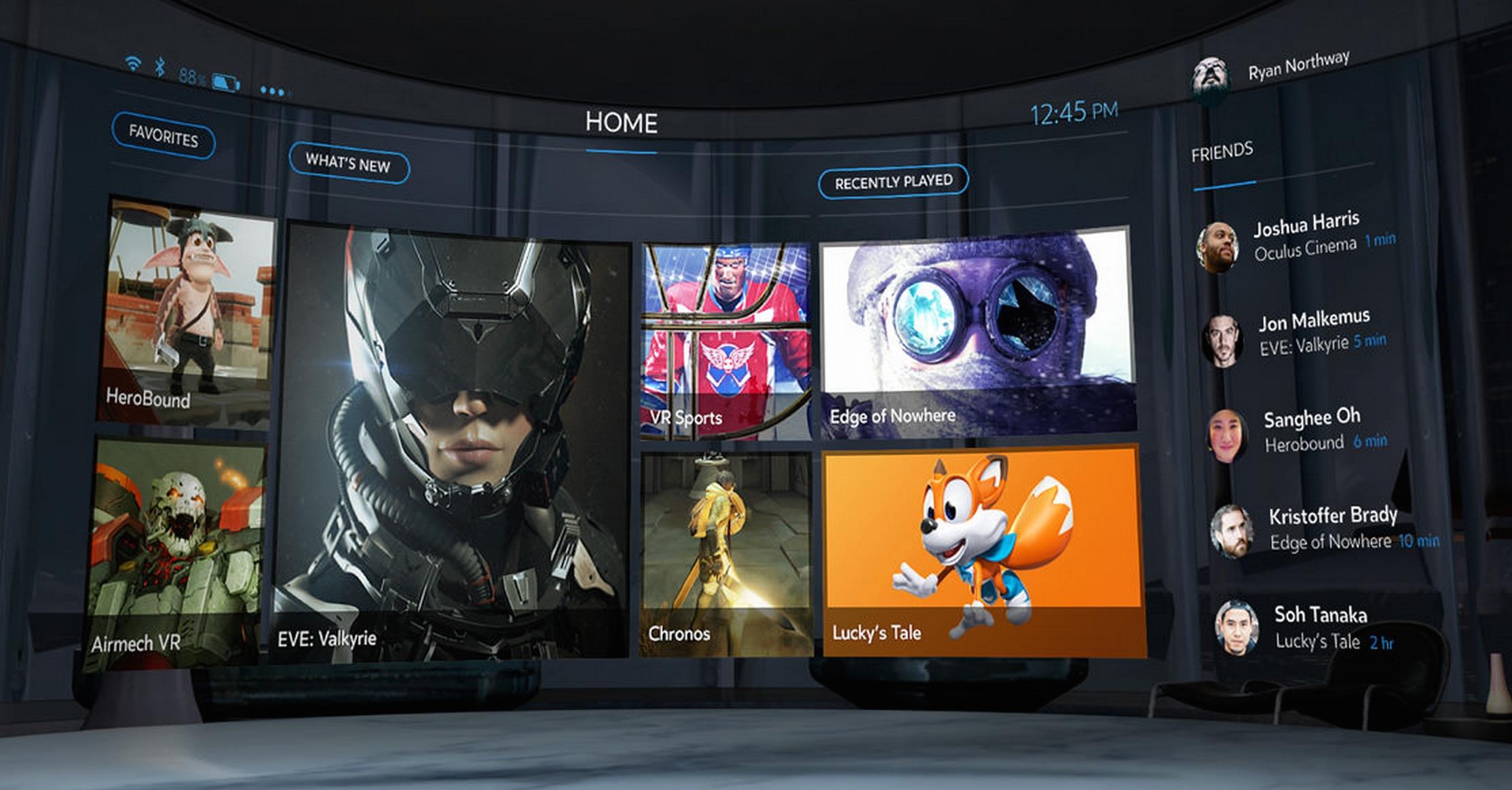 Používateľské rozhranie platformy Oculus Home