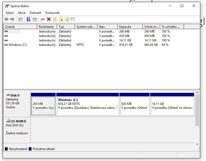Skryté partície určené na obnovenie systému na notebookoch HP