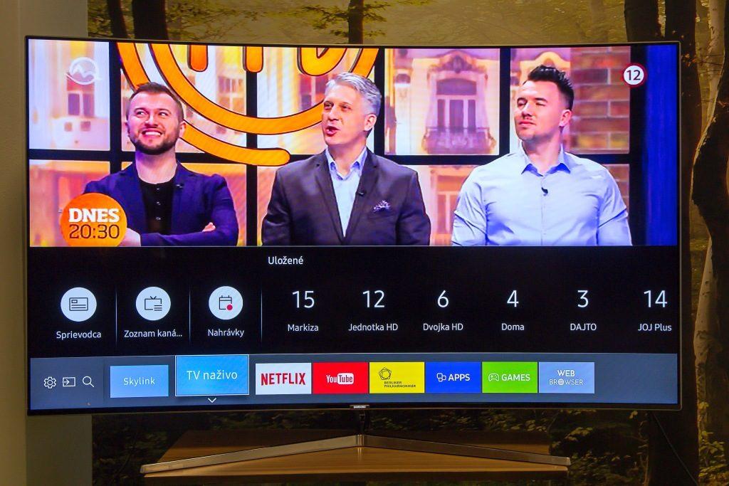 SmartHub v praxi. Vidíte názvy obľúbených kanálov, integrovali sme sem aj vysielanie Skylink