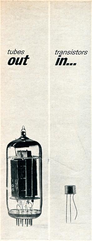"""Reklama v novinách z 50. rokov minulého storočia, upozorňujúca na to, že tranzistory sú na rozdiel od elektrónok """"in"""""""