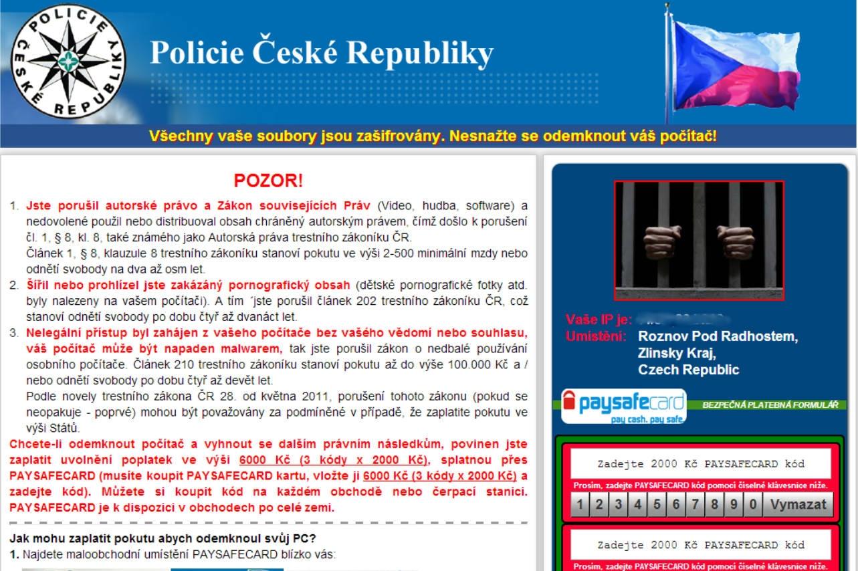 Jednoduchý a relatívne bezzubý ransomvér, vydávajúci sa za správu od polície. Súbory nešifruje