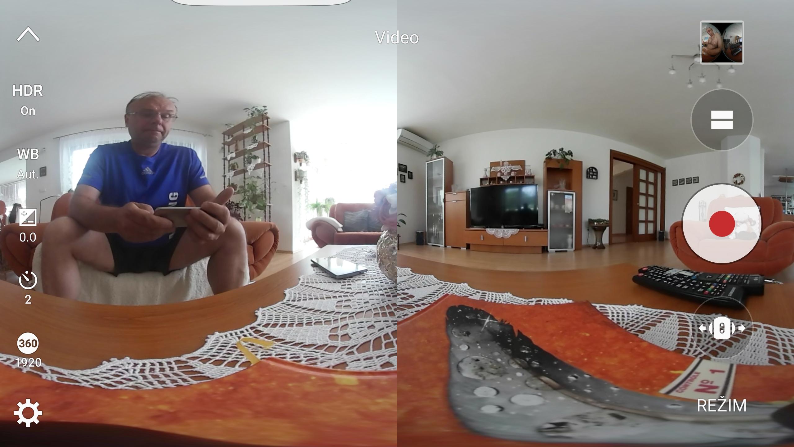 Základný pohľad na scénu s oboma kamerami a nastavením parametrov obrazu
