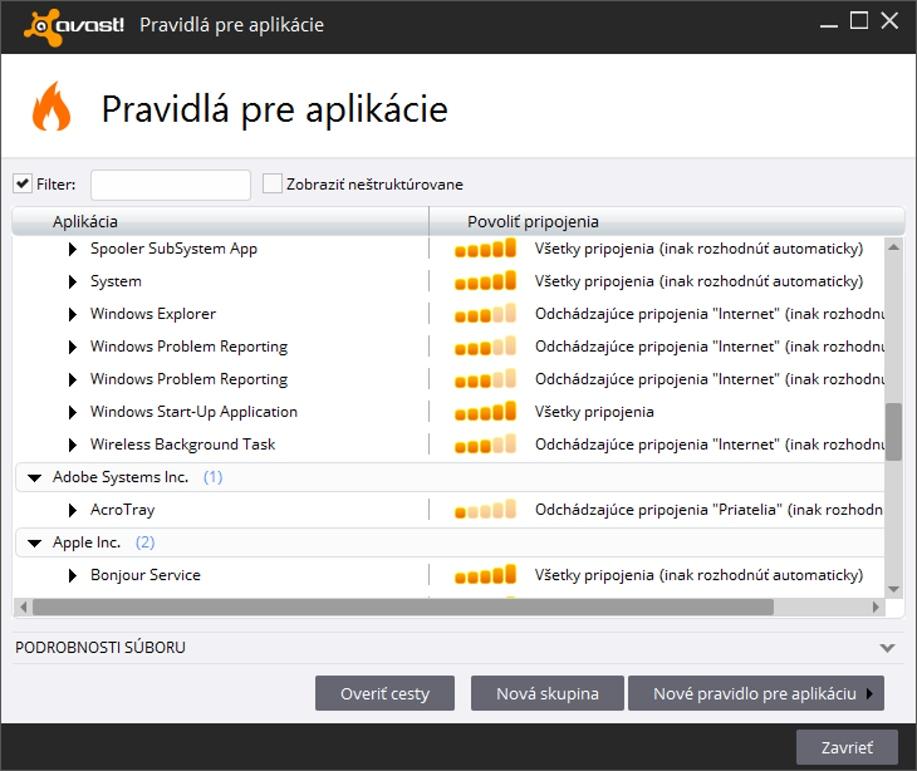 Avast! Premier s kontrolou aplikácií pripájajúcich sa na sieťové rozhranie