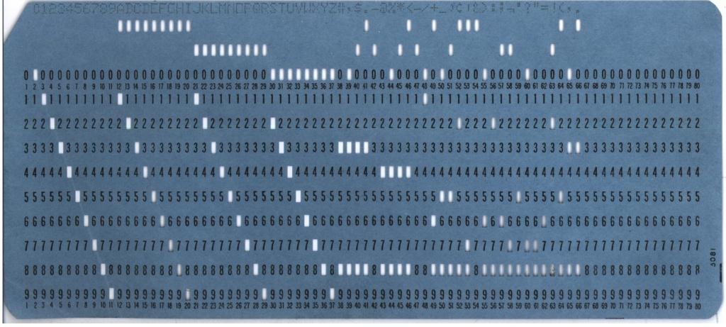Typický modrý dierny štítok IBM s obdĺžnikovými otvormi