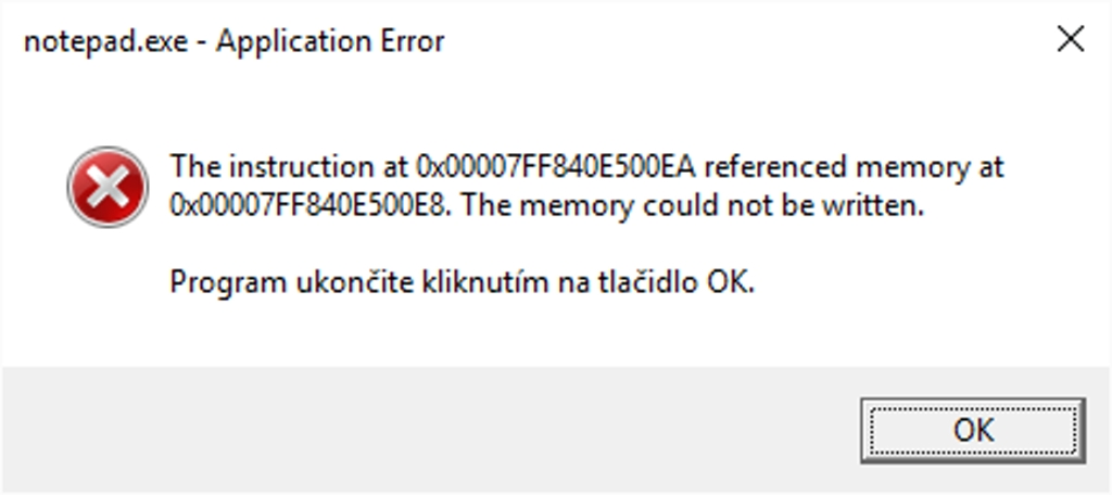Použitie aplikácie Poznámkový blok v režime Sandbox. Nemá prístup k zápisu dát na disk