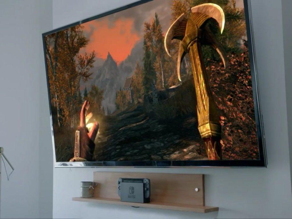 Switch na veľkej televíznej obrazovke