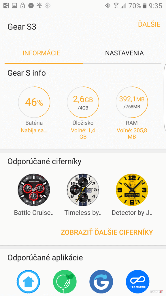 Pozrieť si môžete aj informácie o vašiuch hodinkách