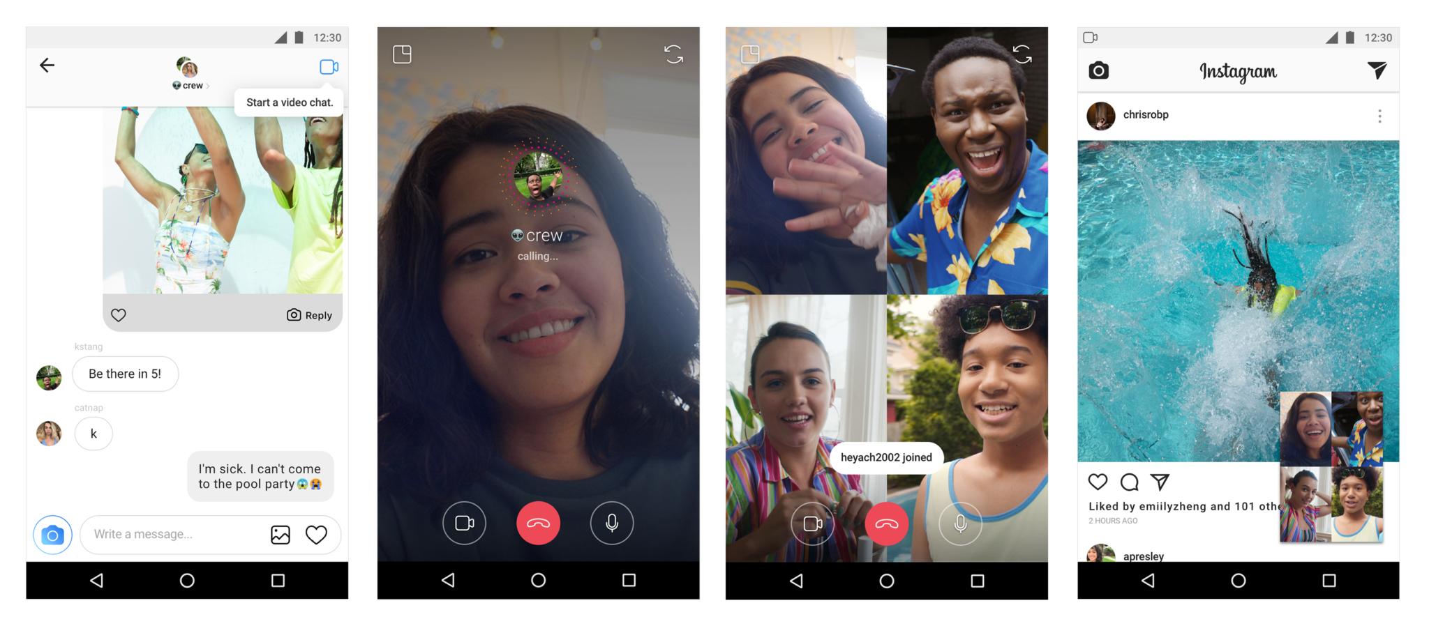 Skupinový video chat v službe Instagram