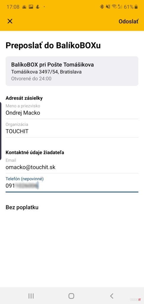 Presmerovanie zásielky do balíkoboxu v aplikácii Pošta