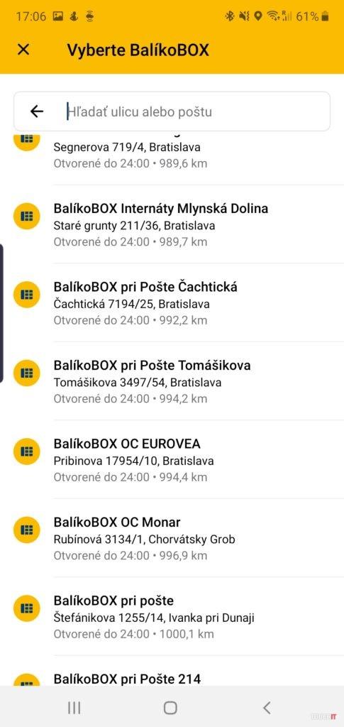 Výber balíkoboxu zo zoznamu v aplikácii Pošta
