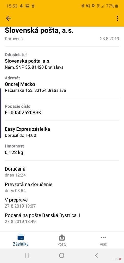 Zásielka bola doručená - informácia v aplikácii pošta