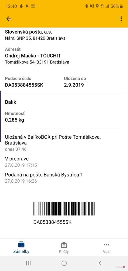 Údaje potrebné na výber zásielky z balíkoboxu