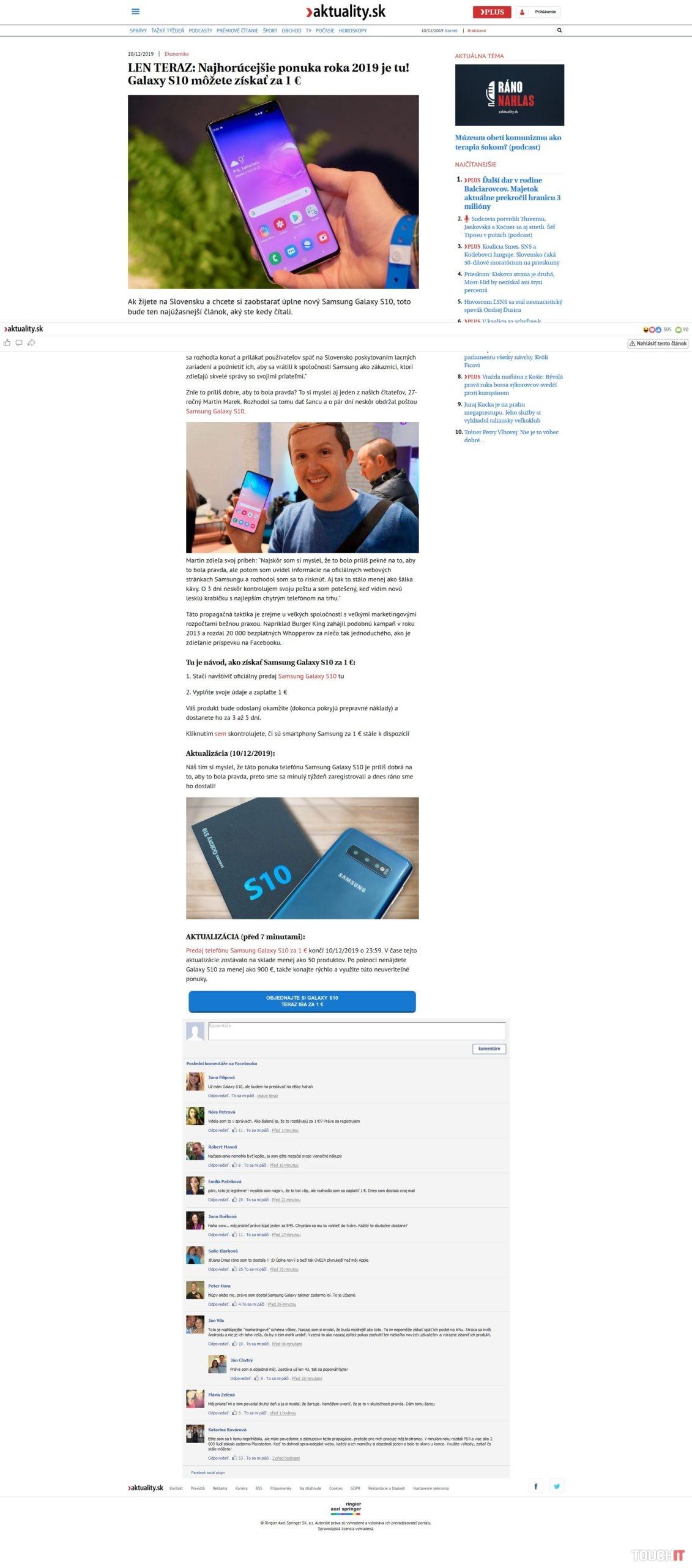 Samsung Galaxy S10+ podvod