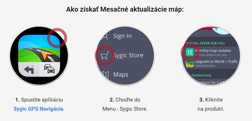 Mesačné aktualizácie máp pre Sygic