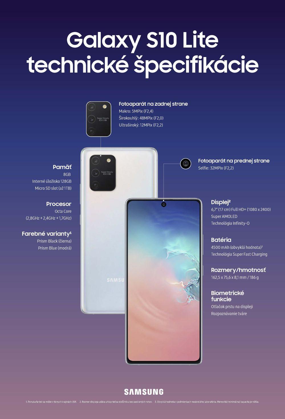 Samsung Galaxy S10 Lite technické špecifikácie