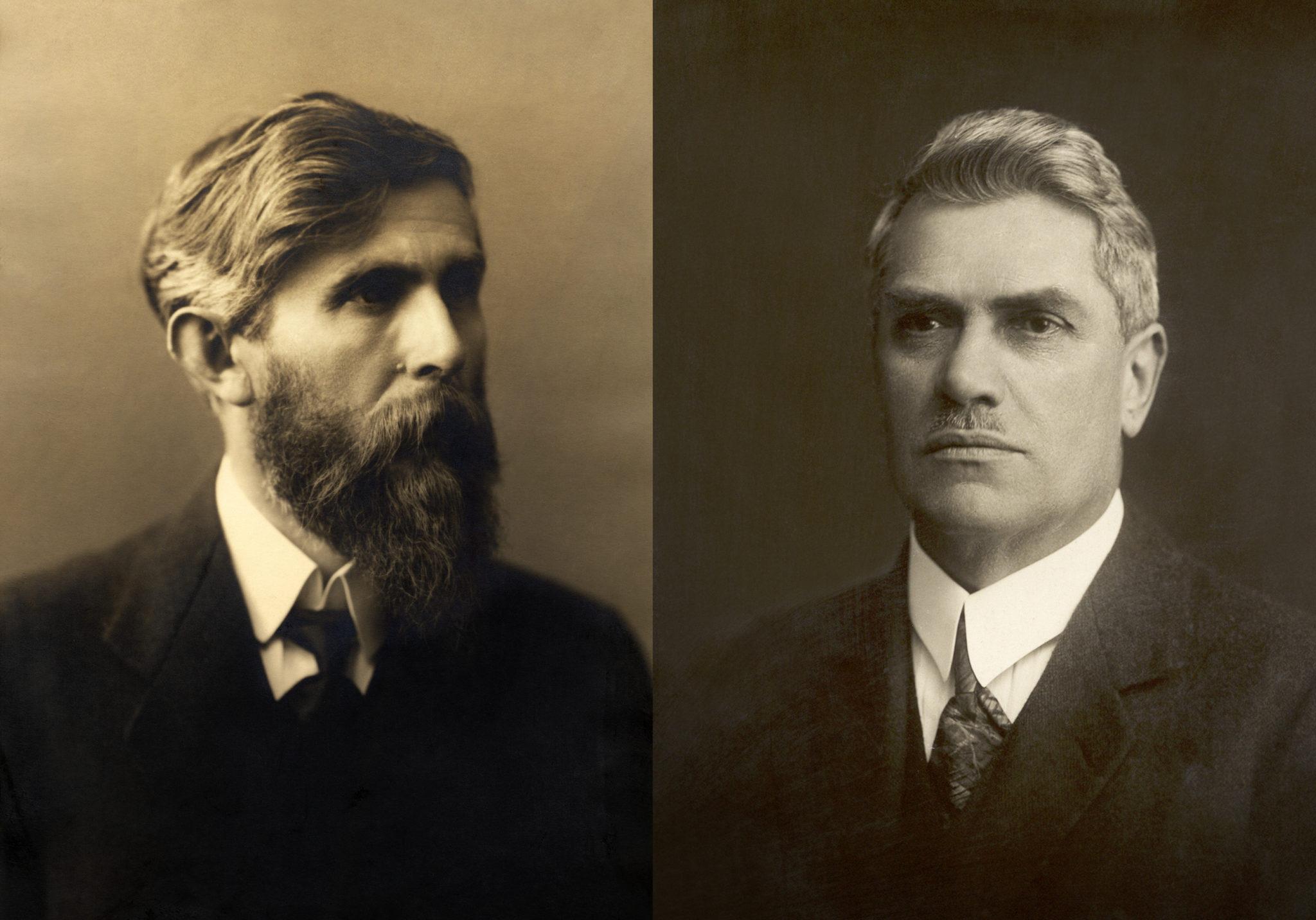 V roku 1895 položili základy spoločnosti ŠKODA AUTO (zľava) kníhkupec Václav Klement a mechanik Václav Laurin, obaja vášniví cyklisti
