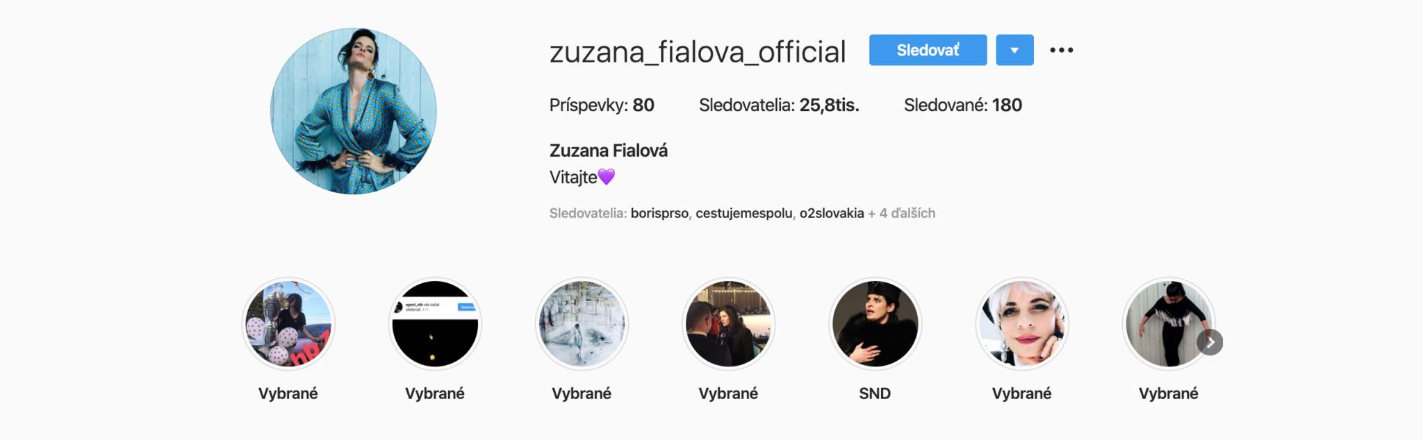 Zuzana Fialová, Instagram