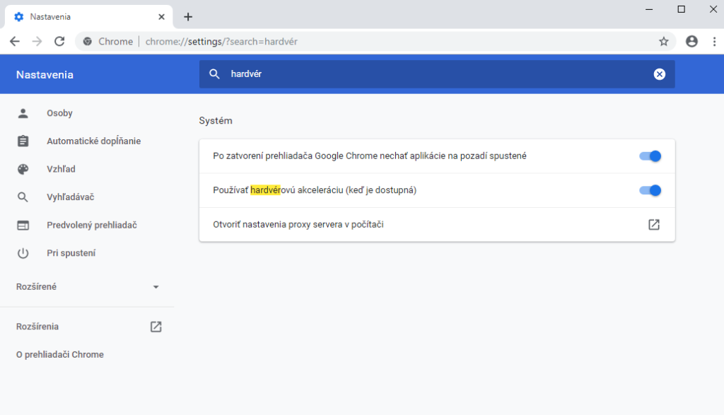 Vypnutie hardvérovej akcelerácie v prehliadači Chrome